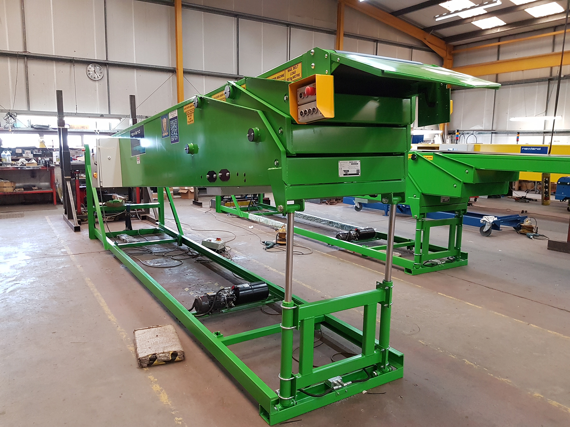 Conveyors supplied to Yemen, supplied in bright green as requested by the client
